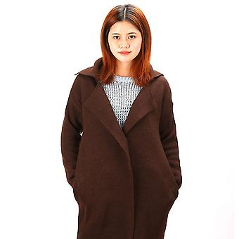 Medium Length Sweater Tailored Suit Collar Long Sleeve Knitted Women Cardigan