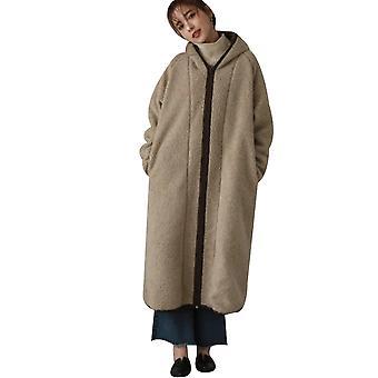 Women's Zip Hoodies Long Lamb Wool Coat Casual Pocket Coat