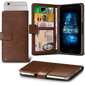 ONX3 Microsoft Lumia 435 / Lumia 435 Dual SIM Leather Universal Spring Clamp Wallet Case With Card Slot Holder and Banknotes Pocket-Brown