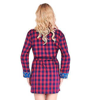 Mio Lounge Peggy Red and Blue Check Floral Soft Brushed Cotton Robe ML16C1RB