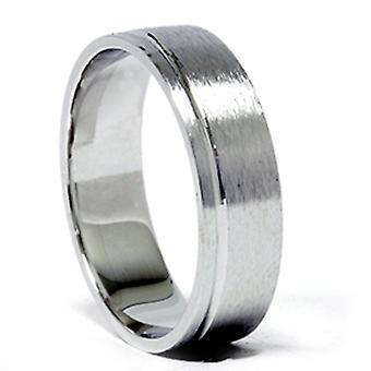 Heren 6mm Comfort Fit trouwring Ring 14K witgoud