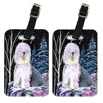 Carolines Treasures  SS8409BT Starry Night Old English Sheepdog Luggage Tags Pai