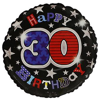 Simon Elvin Star Pattern Happy 30th Birthday Foil Balloon