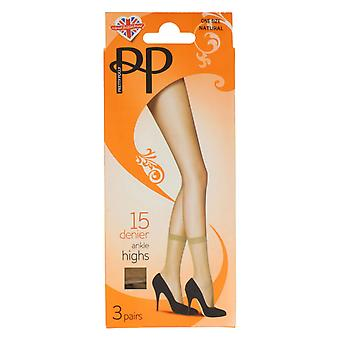 Ladies Pretty Polly Ankle High Tights PNGEK6 - Barely Black Nylon - UK Size 3-8