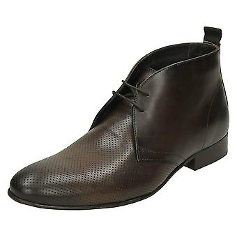 Mens Base London Ankle Boots Trader - Washed Perf Brown Leather - UK Size 7 - EU Size 41 - US Size 8