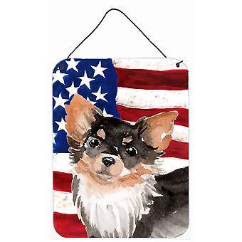 Langhaarige Chihuahua patriotischen Wand oder Tür hängen Drucke