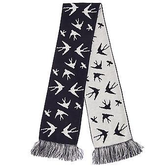 FLOSO Womens/dames slikken patroon gebreide Winter sjaal met franje