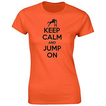 Keep Calm Jump On Funny Riding Equestrian Womens T-Shirt 8 Colours by swagwear