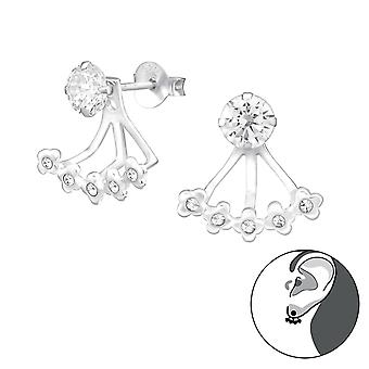 Silver Flower Ear Jacket And Double Earrings With Cubic Zirconia And Crystal - 925 Sterling Silver Ear Jackets & Double Earrings - W36478x