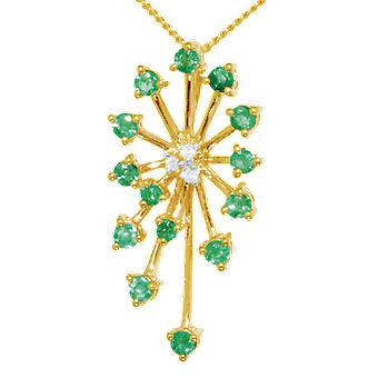 Shipton and Co Ladies Shipton And Co Exclusive 9ct Yellow Gold Starburst Emerald And Diamond Pendant Including A 16 9ct Chain PYD012EMD