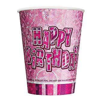 Urodziny Glitz różowa - szczęśliwy urodziny różowy pryzmat kubki