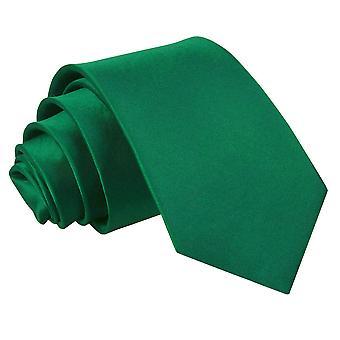 Emerald Green Plain Satin Slim Krawatte