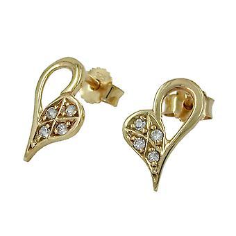 Corazón oro 375 de pendientes aretes de oro, corazón forma 4 x Circonita 9 KT oro
