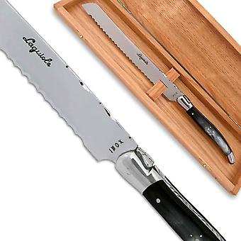 Laguiole bread knife black horn Handle with stainless steel bolsters Direct from France