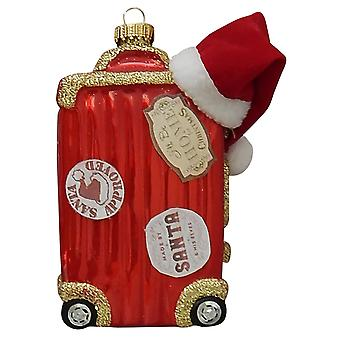 Christmas By Krebs Santas Suitcase Holiday Ornament Glass