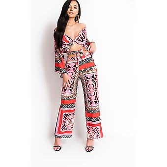 IKRUSH Womens Sellis Paisley Print High Waisted Trousers