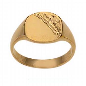 9 قيراط الذهب 10x10mm السيدات التلفزيون محفورة على شكل الخاتم الدائري الحجم Q