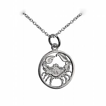 Silver 11mm pierced Cancer Zodiac Pendant with a rolo Chain 24 inches