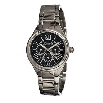 Bertha Rachel Ladies Bracelet Watch w/Day/Date - Silver/Black