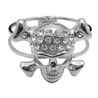 頭蓋骨カフ ブレスレット模擬ダイヤモンド スカル額ヒップホップ ブレスレット