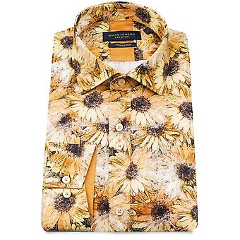 Guide London Yellow Pure Cotton Mens Shirt With Sunflower Print