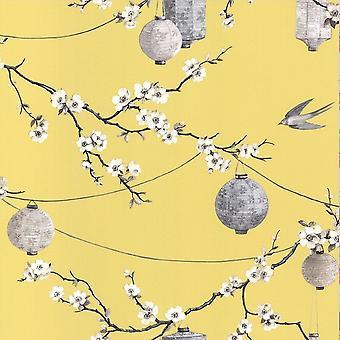 Oriental Tapete Chinese Garden Flower florale Laternen Vögel gelb Arthouse