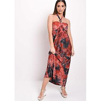 Tie Dye Halterneck Maxi Dress Red
