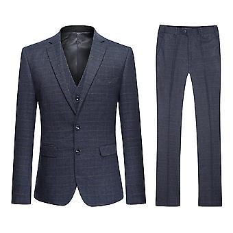Allthemen Men's Two-Button Slim Grey Plaid 3-Piece Suit