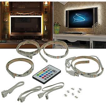 RGB stripe set TV backlight USB, 4 x 50 cm, connectors & remote control TV ambient