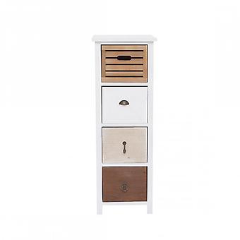 Furniture Rebecca Comodino 4 Drawers Shabby Vintage Brown White Wood 89x31x27