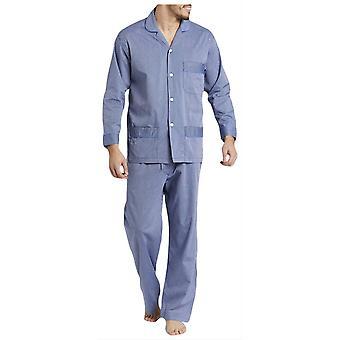 British Boxers Minister Stripe Pyjamas - Navy/Silver
