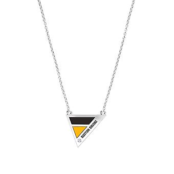 Boston Bruins Engraved Sterling Silver Diamond Geometric Necklace In Black & Yellow