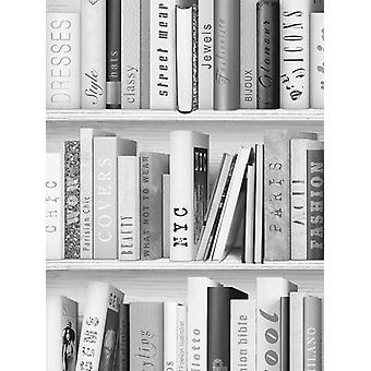 Mode bibliotek bok hylla tapet Muriva