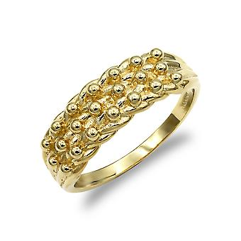 Jewelco London Men's Solid 9ct Yellow Gold 3 Row Keeper Rope Edge Ring