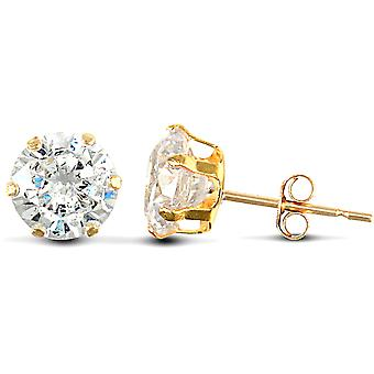 Jewelco London 9ct Yellow Gold White Round Brilliant Cubic Zirconia 6 Claw Solitaire Stud Earrings, 6mm