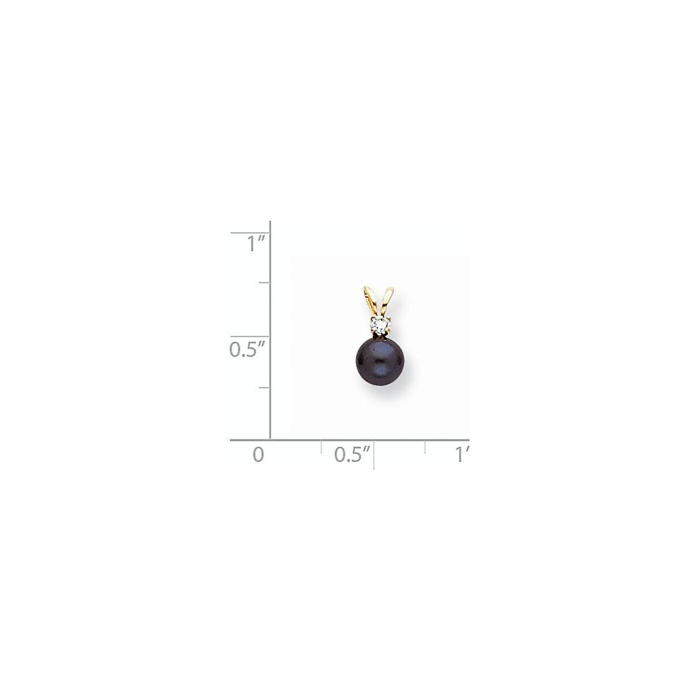 14k Yellow Gold Post Earrings 6mm Black Freshwater Cultured Pearl Diamond Pendant Necklace Measures 13x6mm Jewelry Gifts