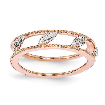 4.75mm 925 Sterling Silver Polished Prong set Stackable Expressions Rose Gold-Flashed Diamond Jacket Ring - Ring Size: 5