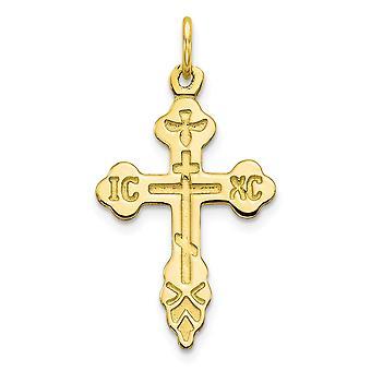 10k gul guld Solid poleret Cross charme - 1,0 g