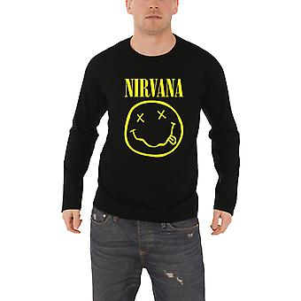 Nirvana T Shirt Classic Face Logo Official Mens New Black Long Sleeve