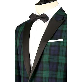 Dobell Mens Black Watch Tartan Tuxedo Dinner Jacket Slim Fit Contrast Peak Lapel