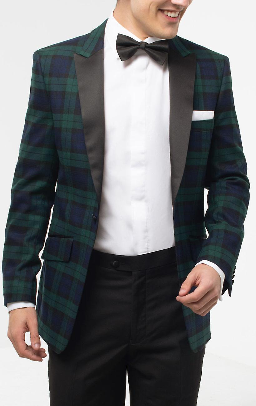 Dobell Mens Black Watch Tartan Tuxedo Dinner Jacket Slim Fit Contrast Peak Lapel