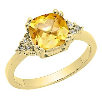 Dazzlingrock Collection 14K 8 MM Cushion Citrine & Round White Diamond Ladies Engagement Ring, Yellow Gold