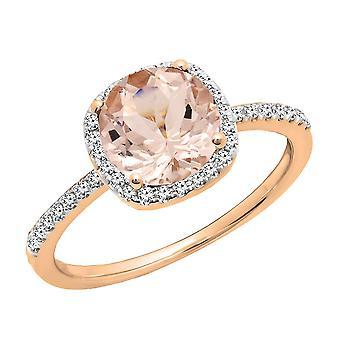 Dazzlingrock Sammlung 10K Runde geschnitten Morganit & weiß Diamant Halo Braut Verlobungsring, Rose Gold