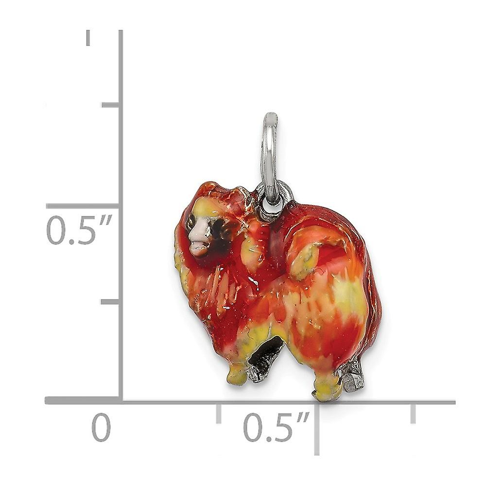 925 Sterling Silver Enameled Pekingese Charm Pendant Necklace Jewelry Gifts for Women - 4.0 Grams
