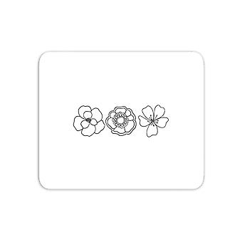 Hand Drawn Flowers Mouse Mat
