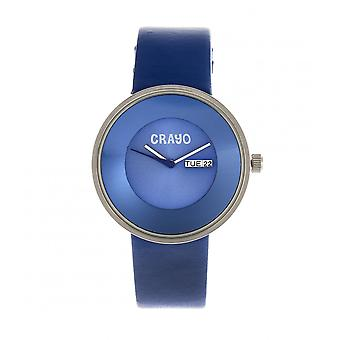 Crayo Button Leather-Band Unisex Watch w/ Day/Date - Blue