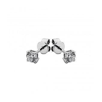 Diamond stud earrings - 14K 585/- White gold - 0.15 ct.