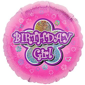 Anagram 18 Inch Pink Flowers Birthday Girl Circle Foil Balloon