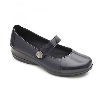 Padders Past Ladies Leather Wide (e/2e) Shoes Navy