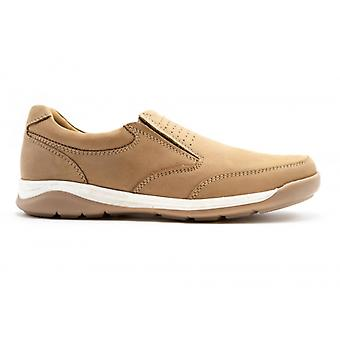 Padders Mendip miesten nahka leveä (g sovi) slip on kengät Taupe